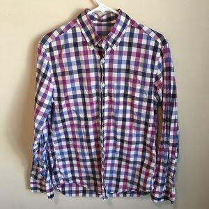 J.Crew Blue & Purple Plaid Button Front Shirt M